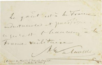 Discours autographe d'Alexandre Walewski - Patrimoine Charles-André COLONNA WALEWSKI, en ligne directe de Napoléon