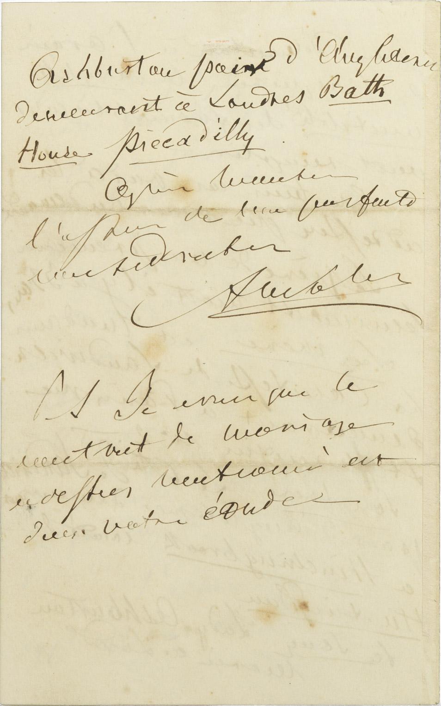 Lettre d'Alexandre Walewski, Londres - Patrimoine Charles-André COLONNA WALEWSKI, en ligne directe de Napoléon