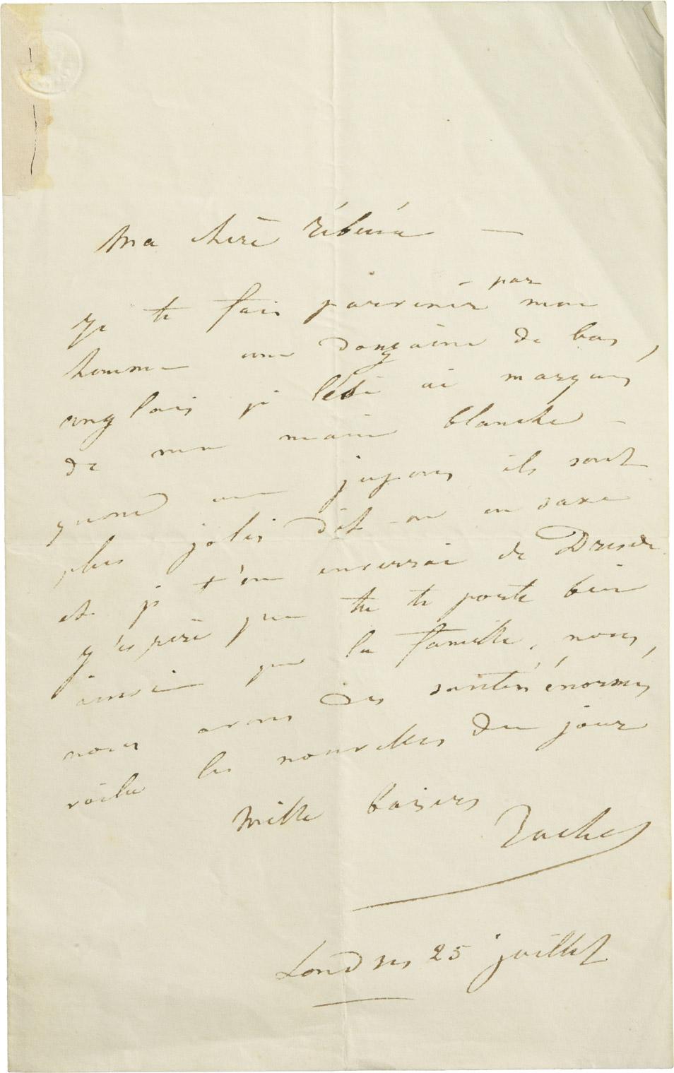 Lettre de Rachel à sa soeur Rébecca - Patrimoine Charles-André COLONNA WALEWSKI, en ligne directe de Napoléon
