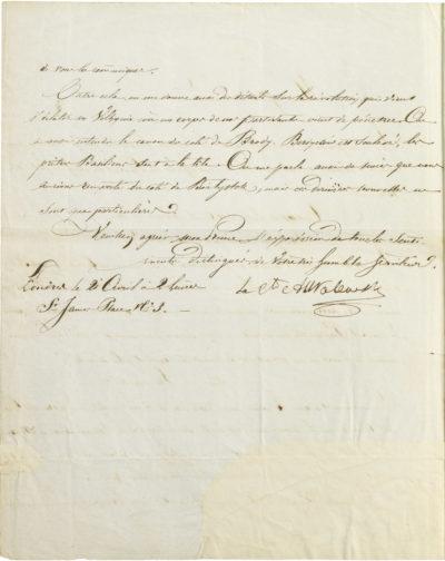 Lettre d'Alexandre I Walewski au Prince - Patrimoine Charles-André COLONNA WALEWSKI, en ligne directe de Napoléon