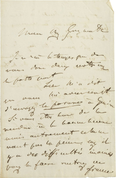 Lettre d'Alexandre Walewski I au comte Grzymala - Patrimoine Charles-André COLONNA WALEWSKI, en ligne directe de Napoléon