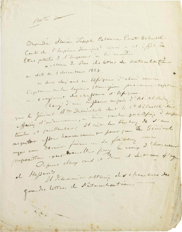 Document biographique sur Alexandre I Walewski - Patrimoine Charles-André COLONNA WALEWSKI, en ligne directe de Napoléon