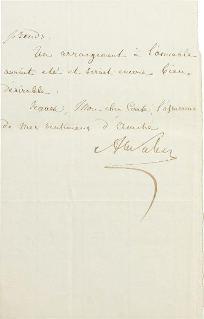 Lettre d'Alexandre I Walewski à Olympe Aguado - Patrimoine Charles-André COLONNA WALEWSKI, en ligne directe de Napoléon
