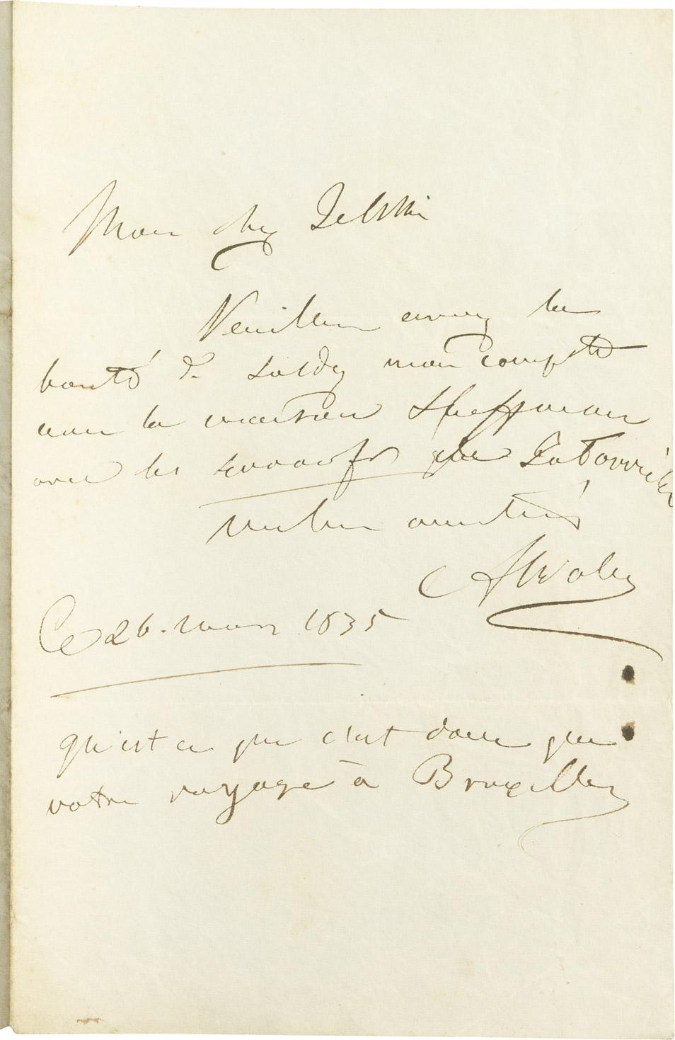 Lettre d'Alexandre I Walewski au comte Jelski - Patrimoine Charles-André COLONNA WALEWSKI, en ligne directe de Napoléon