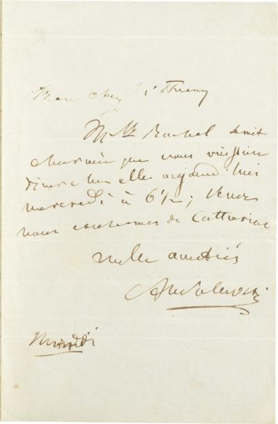 Lettre d'Alexandre Walewski I à Thierry - Patrimoine Charles-André COLONNA WALEWSKI, en ligne directe de Napoléon