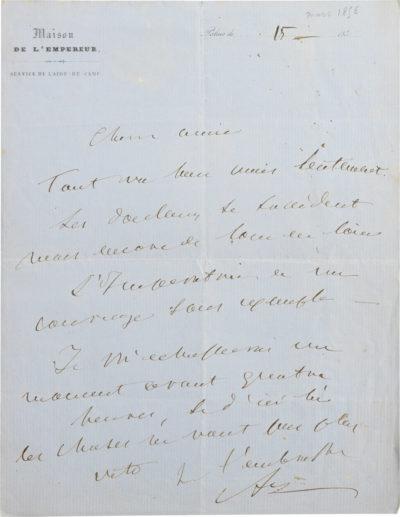 Lettre d'Alexandre Colonna Walewski - Patrimoine Charles-André COLONNA WALEWSKI, en ligne directe de Napoléon