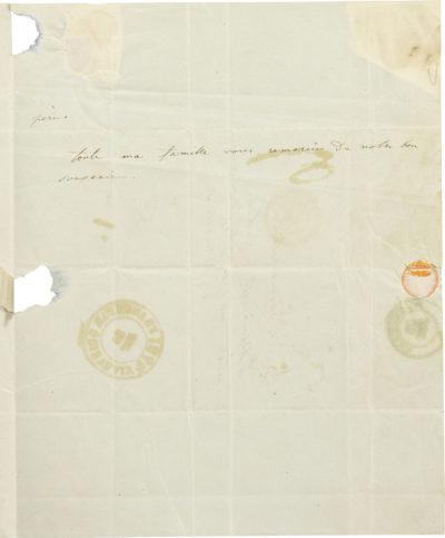 Lettre de Rachel à Eléonore Rabut - Patrimoine Charles-André COLONNA WALEWSKI, en ligne directe de Napoléon
