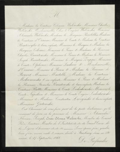 Faire-part de décès d'Alexandre I Walewski - Patrimoine Charles-André COLONNA WALEWSKI, en ligne directe de Napoléon