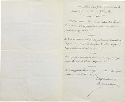 Lettre de Gauthier de Rougemont avec poème et feuilles du tombeau de Napoléon - Patrimoine Charles-André COLONNA WALEWSKI, en ligne directe de Napoléon
