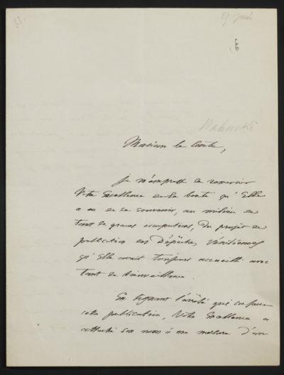 Autographe de Monsieur Mas Latrie du 2 Juin 1863 - Patrimoine Charles-André COLONNA WALEWSKI, en ligne directe de Napoléon