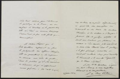 Autographe de Monsieur Mas Latrie du 2 Juin 1863 - Patrimoine Charles-André COLONNA WALEWSKI