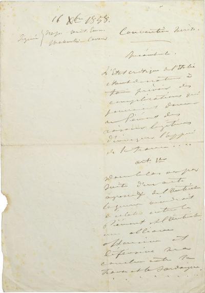 Convention secrète sur le rattachement de la Savoie à la France - Patrimoine Charles-André COLONNA WALEWSKI, en ligne directe de Napoléon