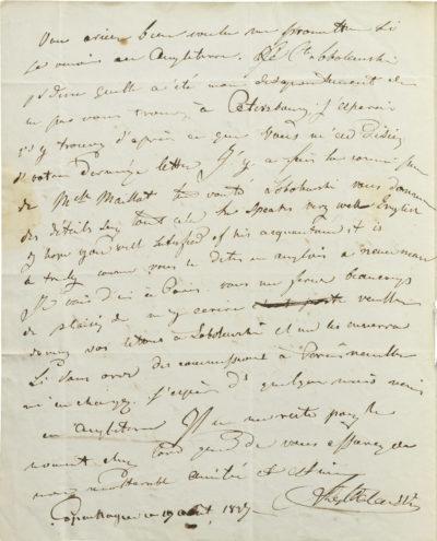 Lettre d'Alexandre Walewski I à Russel - Patrimoine Charles-André COLONNA WALEWSKI, en ligne directe de Napoléon