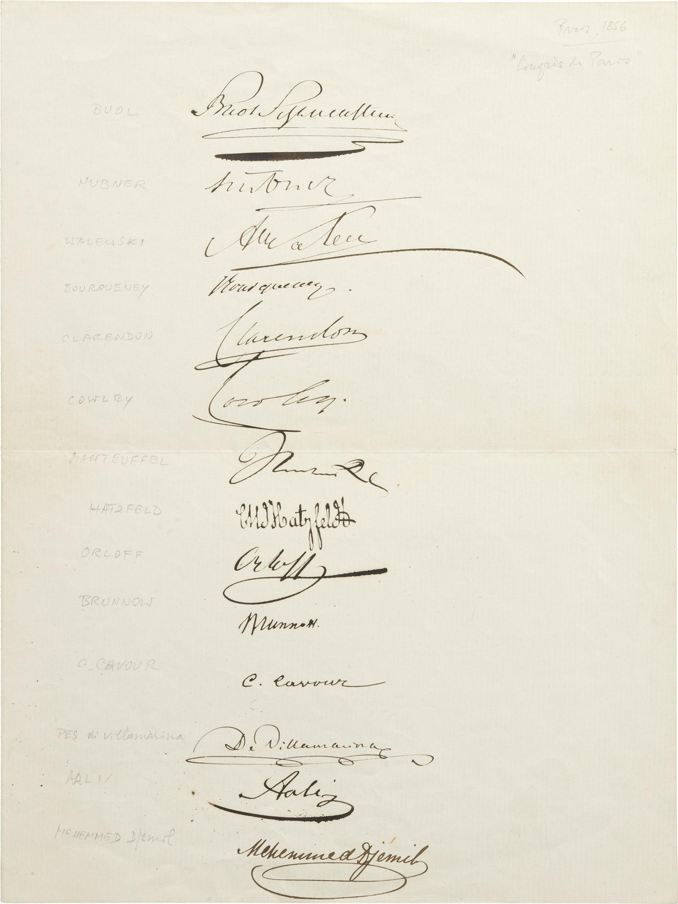 Signatures du Traité de Paris - Patrimoine Charles-André COLONNA WALEWSKI, en ligne directe de Napoléon