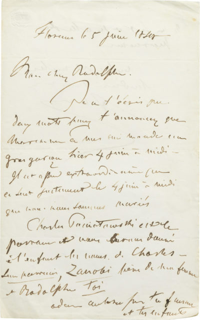 Lettre d'Alexandre Walewski I à Rodolphe d'Ornano - Patrimoine Charles-André COLONNA WALEWSKI, en ligne directe de Napoléon