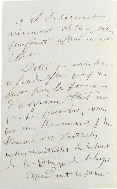 Lettre d'Alexandre I Colonna Walewski - Patrimoine Charles-André COLONNA WALEWSKI, en ligne directe de Napoléon