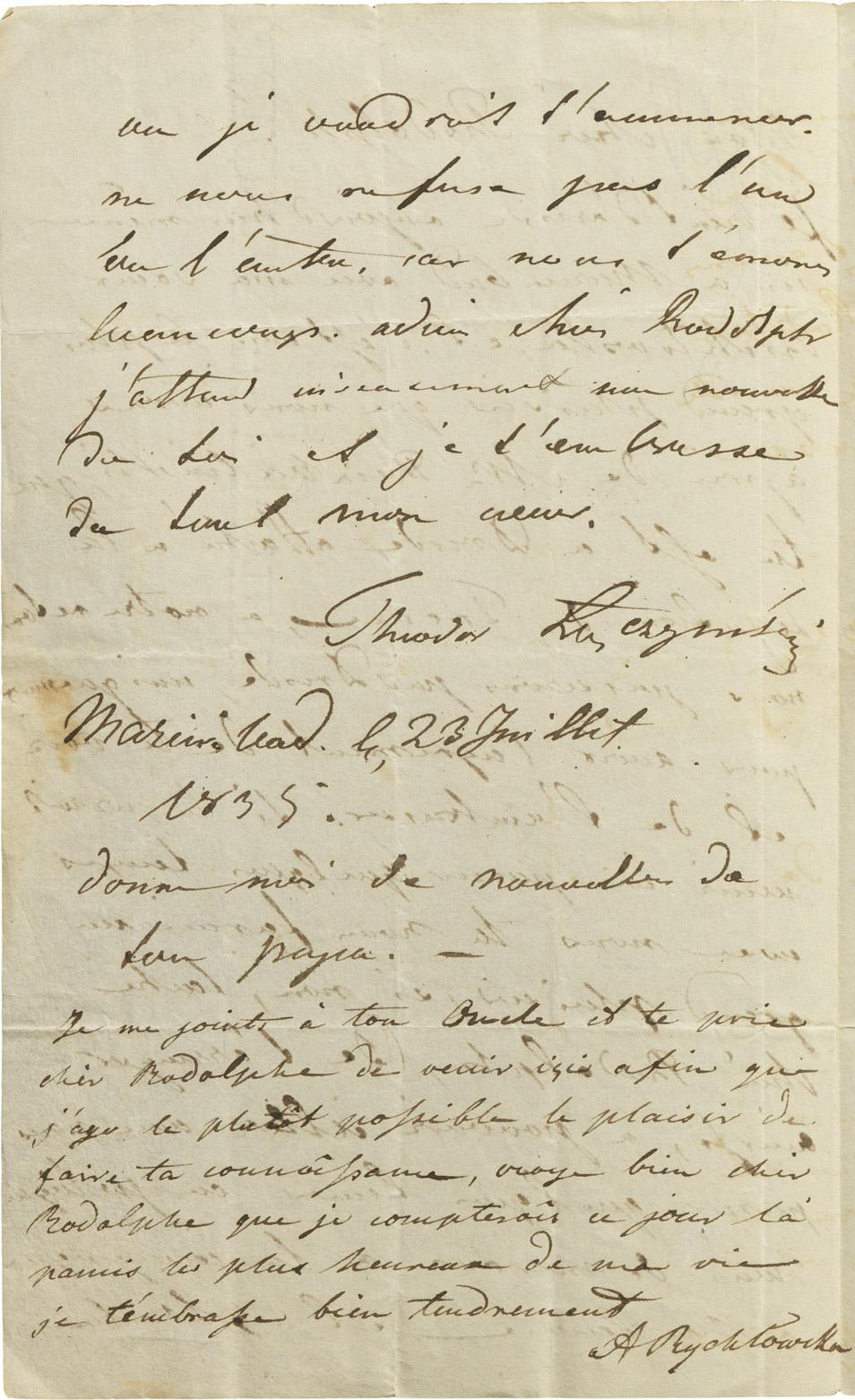 Lettre de Teodor Łączyński à Rodolphe d'Ornano - Patrimoine Charles-André COLONNA WALEWSKI, en ligne directe de Napoléon