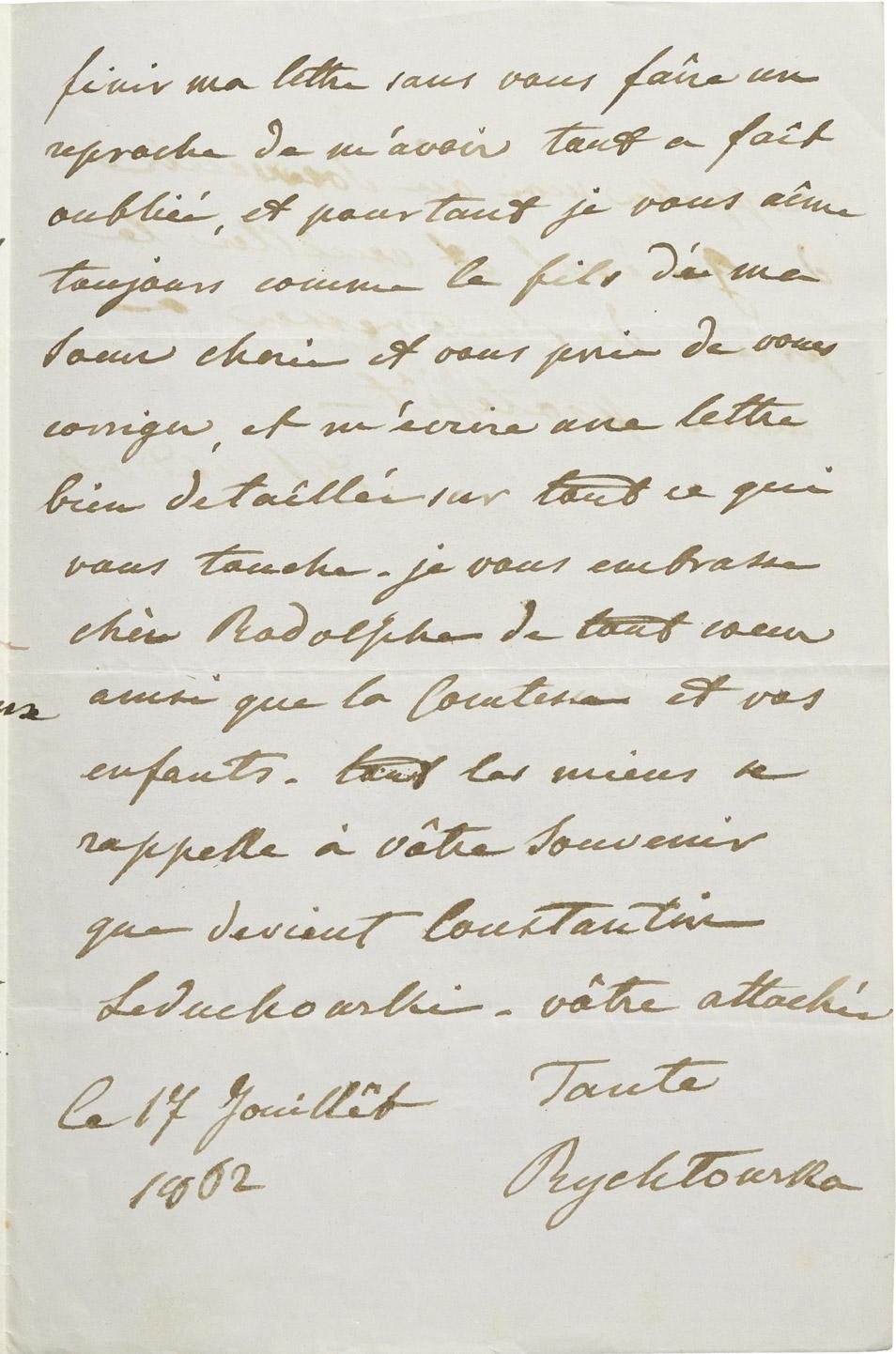 Lettre de sa tante Rychtowska à Rodolphe d'Ornano - Patrimoine Charles-André COLONNA WALEWSKI, en ligne directe de Napoléon