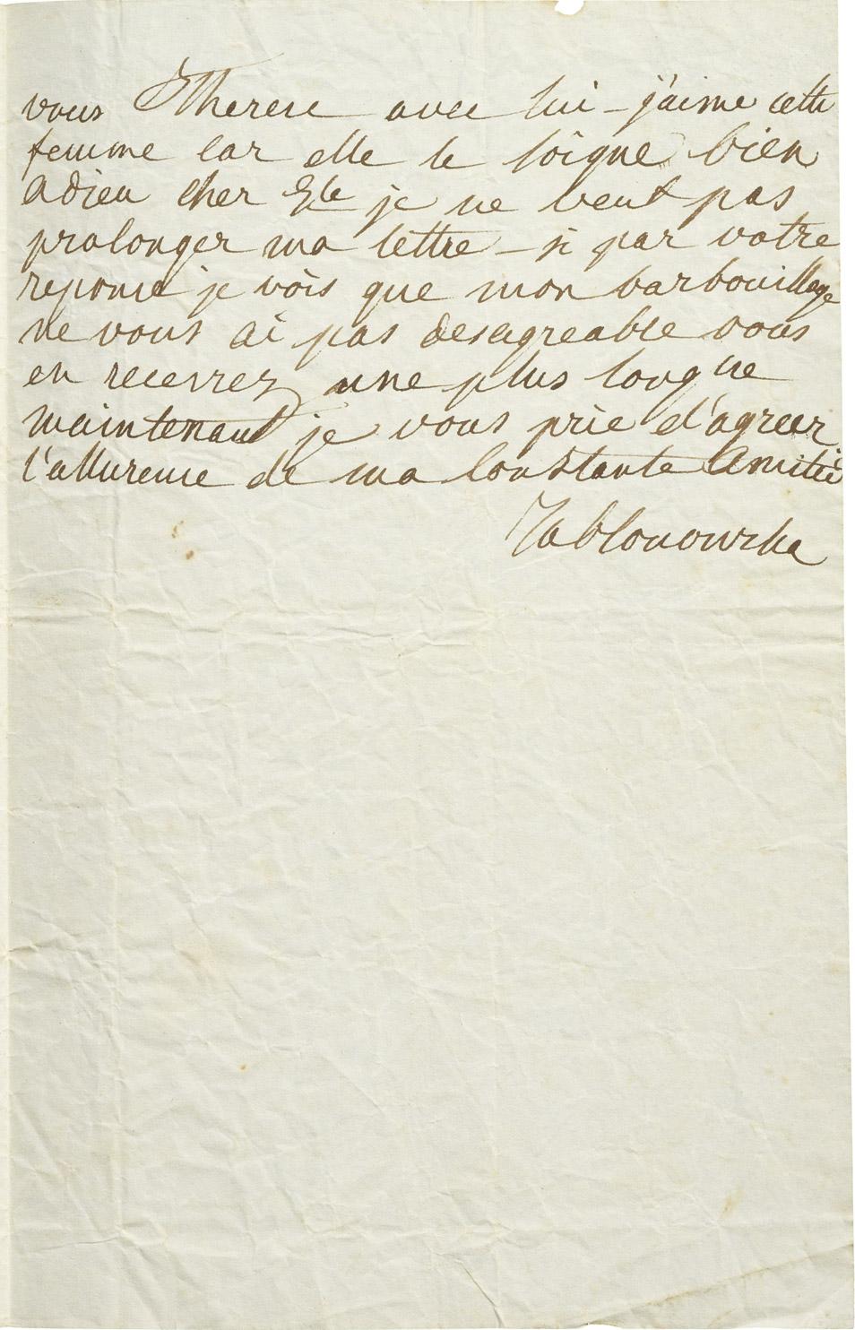 Lettre de la princesse Jablonowska au général d'Ornano - Patrimoine Charles-André COLONNA WALEWSKI, en ligne directe de Napoléon