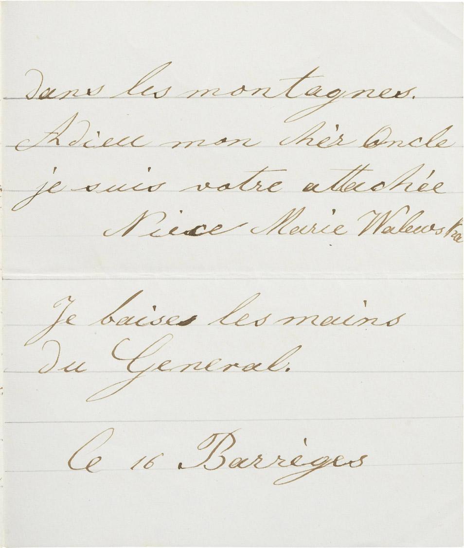 Lettre de sa nièce Marie Walewska à Rodolphe d'Ornano - Patrimoine Charles-André COLONNA WALEWSKI, en ligne directe de Napoléon