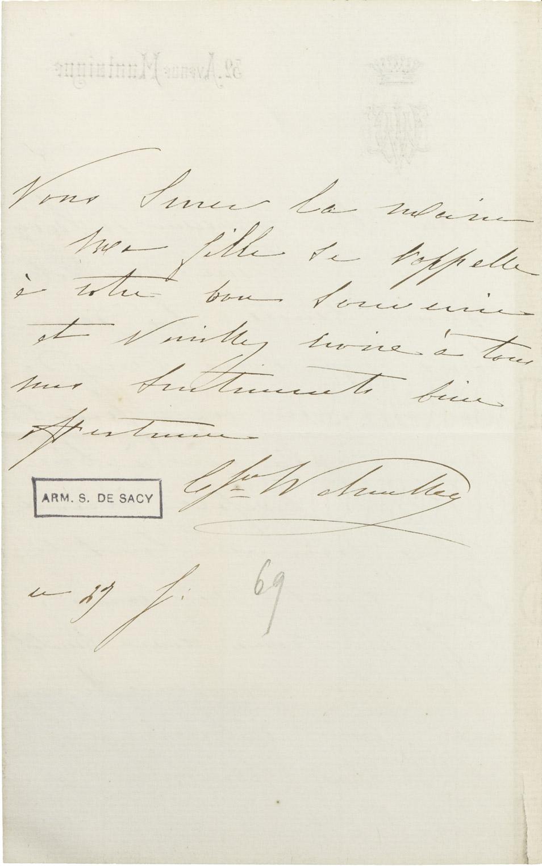 Lettre de la comtesse Walewska à M. de Sacy - Patrimoine Charles-André COLONNA WALEWSKI, en ligne directe de Napoléon