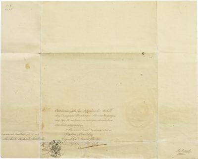 Certificat polonais signé d'Alexandre I Walewski - Patrimoine Charles-André COLONNA WALEWSKI, en ligne directe de Napoléon