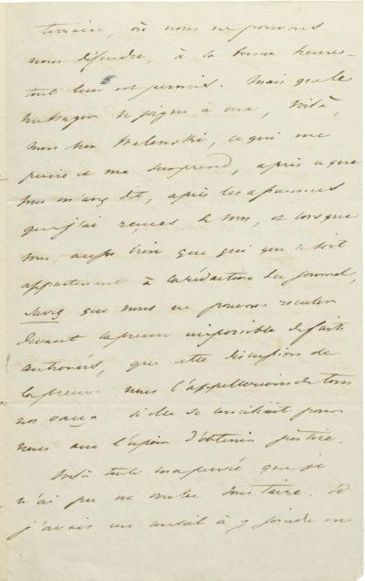 Lettre de Casimir-Perier au comte Walewski - Patrimoine Charles-André COLONNA WALEWSKI, en ligne directe de Napoléon