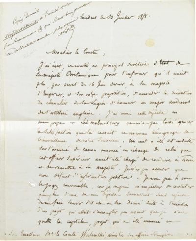 Lettre du maréchal Pélissier à Alexandre Walewski - Patrimoine Charles-André COLONNA WALEWSKI, en ligne directe de Napoléon