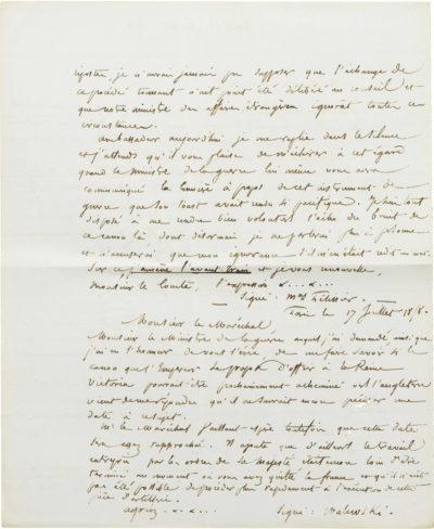 Correspondance d'Alexandre Walewski et Pélissier - Patrimoine Charles-André COLONNA WALEWSKI, en ligne directe de Napoléon