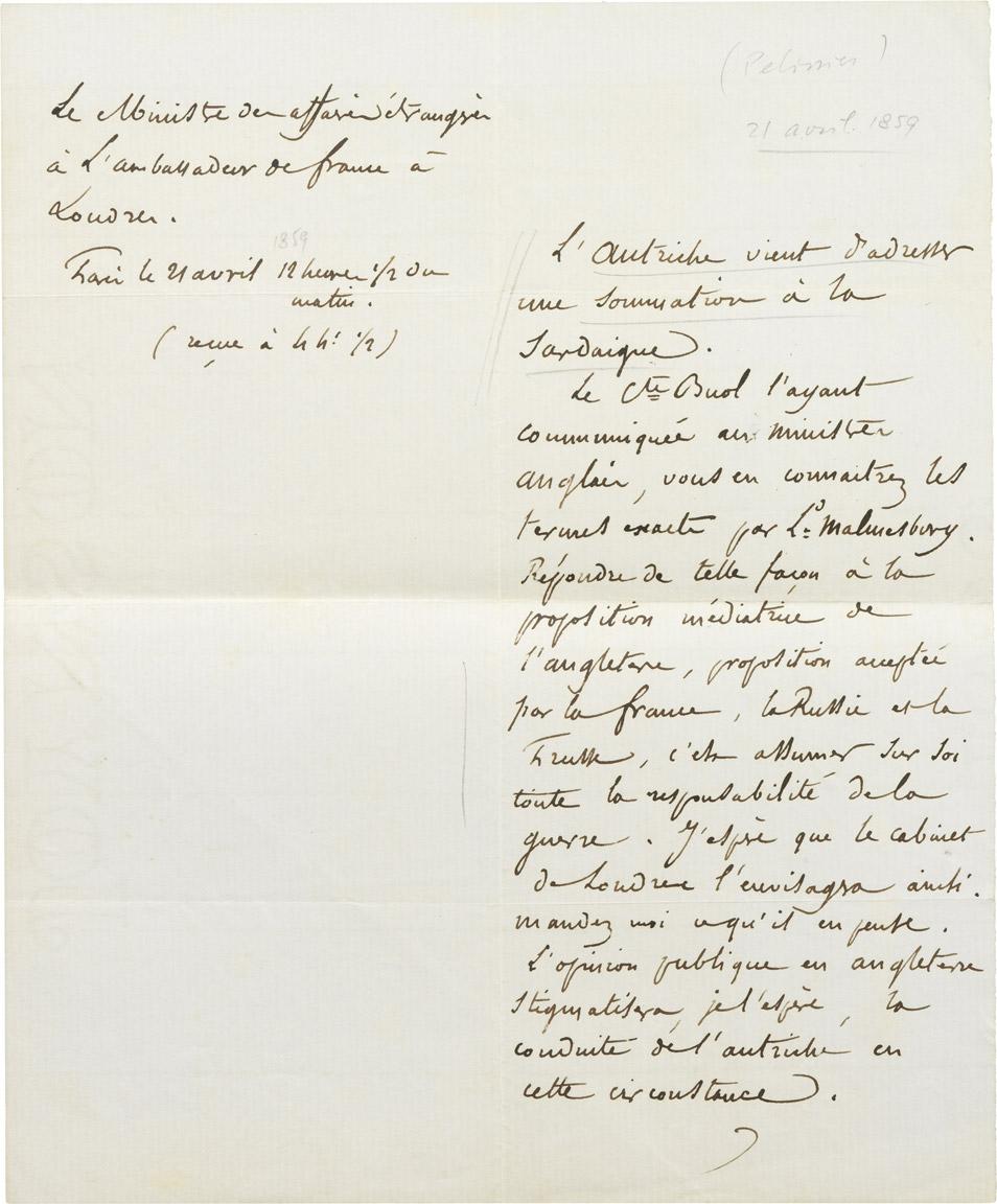 Dépêche d'Alexandre I Walewski à Pélissier - Patrimoine Charles-André COLONNA WALEWSKI, en ligne directe de Napoléon