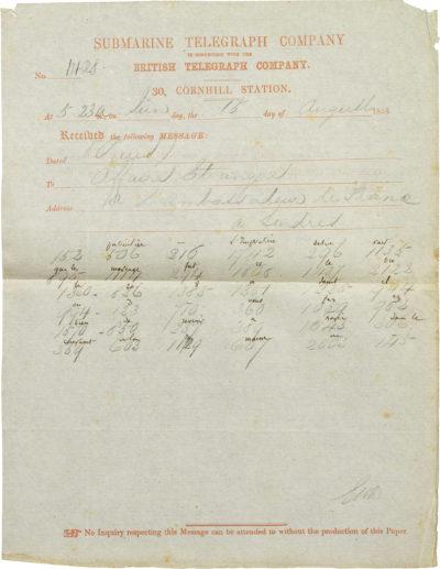 Télégramme d'Alexandre I Walewski à Pélissier - Patrimoine Charles-André COLONNA WALEWSKI, en ligne directe de Napoléon