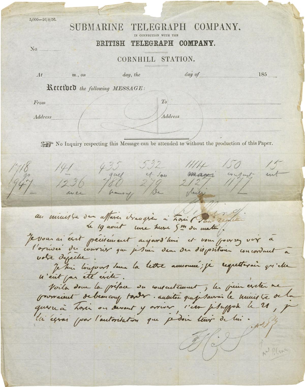 Télégramme de Pélissier à Alexandre I Walewski - Patrimoine Charles-André COLONNA WALEWSKI, en ligne directe de Napoléon