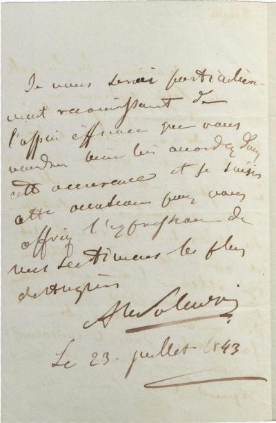 Lettre d'Alexandre Walewski à Auber - Patrimoine Charles-André COLONNA WALEWSKI, en ligne directe de Napoléon