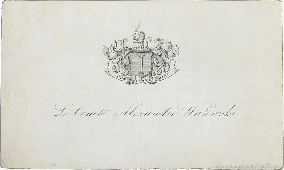 Carte de visite d'Alexandre Colonna Walewski - Patrimoine Charles-André COLONNA WALEWSKI, en ligne directe de Napoléon