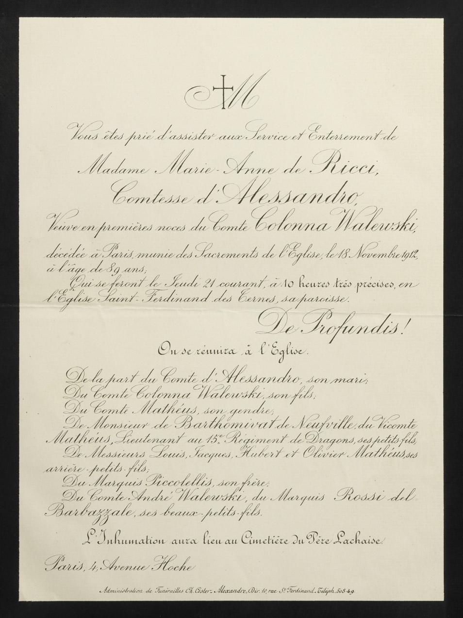 Faire-part de décès de Marianna de Ricci - Patrimoine Charles-André COLONNA WALEWSKI, en ligne directe de Napoléon