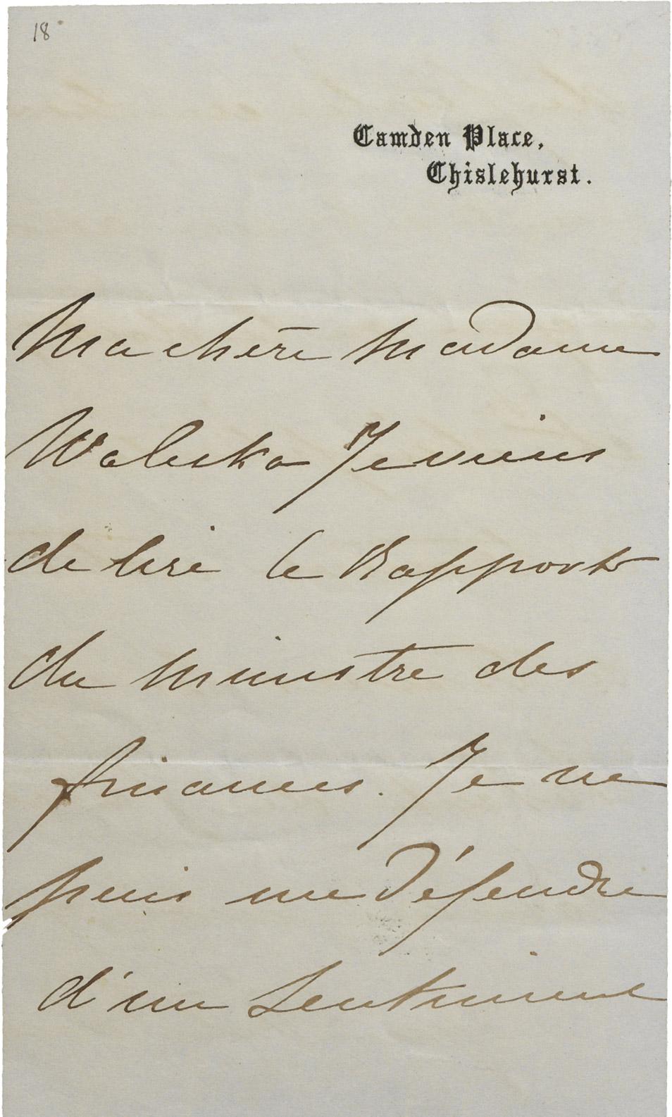 Lettre de l'impératrice Eugénie à la comtesse Walewska - Patrimoine Charles-André COLONNA WALEWSKI, en ligne directe de Napoléon