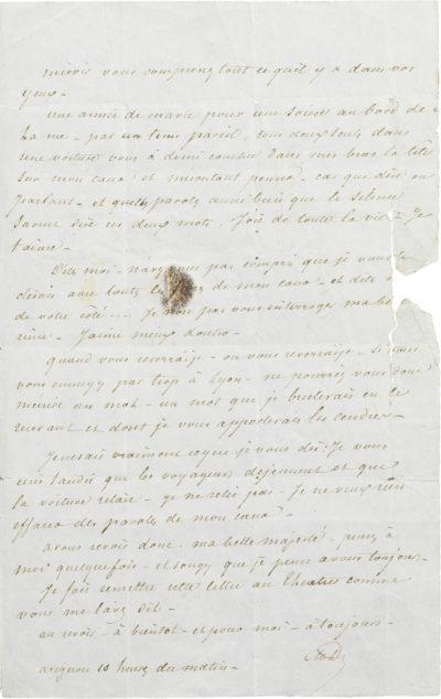Lettre d'Alexandre Dumas père à Rachel - Patrimoine Charles-André COLONNA WALEWSKI, en ligne directe de Napoléon