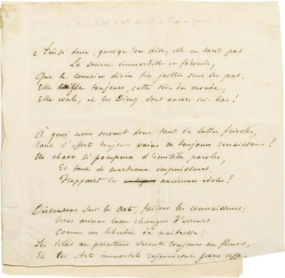 Poème de Musset pour Rachel - Patrimoine Charles-André COLONNA WALEWSKI, en ligne directe de Napoléon