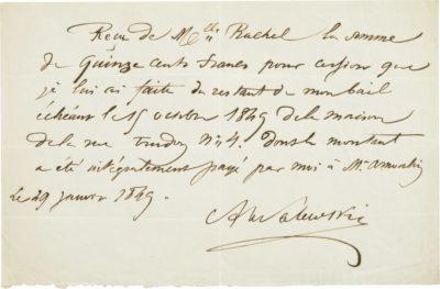 Reçu d'Alexandre Walewski concernant le loyer de Rachel - Patrimoine Charles-André COLONNA WALEWSKI, en ligne directe de Napoléon