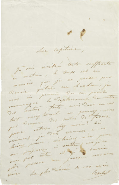 Lettre de Rachel au Dr Véron - Patrimoine Charles-André COLONNA WALEWSKI, en ligne directe de Napoléon
