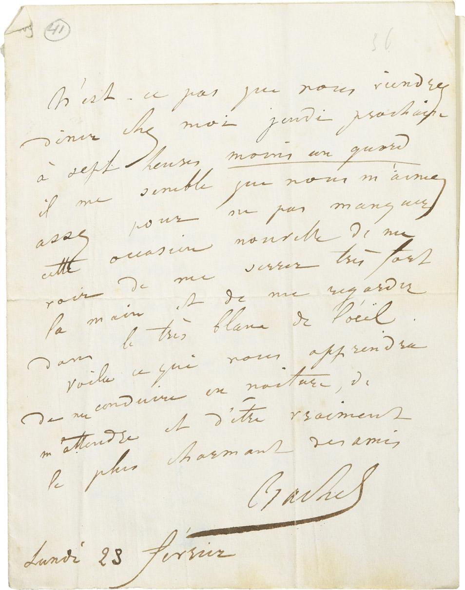 Lettre de Rachel à Musset - Patrimoine Charles-André COLONNA WALEWSKI, en ligne directe de Napoléon