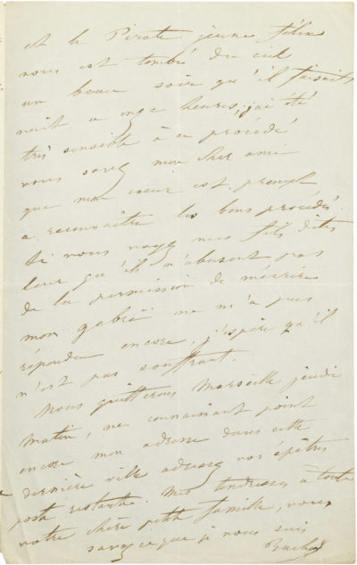 Lettre de Rachel à Bellevaut - Patrimoine Charles-André COLONNA WALEWSKI, en ligne directe de Napoléon