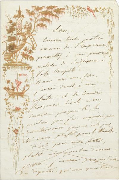 Lettre de Rachel à Napoléon III - Patrimoine Charles-André COLONNA WALEWSKI, en ligne directe de Napoléon