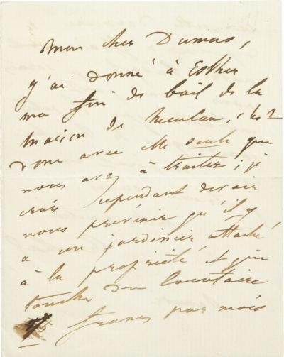 Lettre de Rachel à Alexandre Dumas - Patrimoine Charles-André COLONNA WALEWSKI, en ligne directe de Napoléon