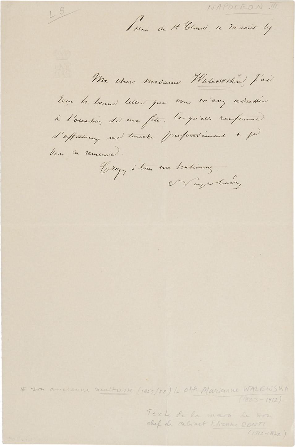 Lettre de Napoléon III à la comtesse Walewska - Patrimoine Charles-André COLONNA WALEWSKI, en ligne directe de Napoléon