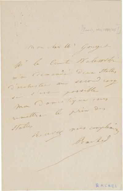 Lettre de Rachel à Gouget - Patrimoine Charles-André COLONNA WALEWSKI, en ligne directe de Napoléon