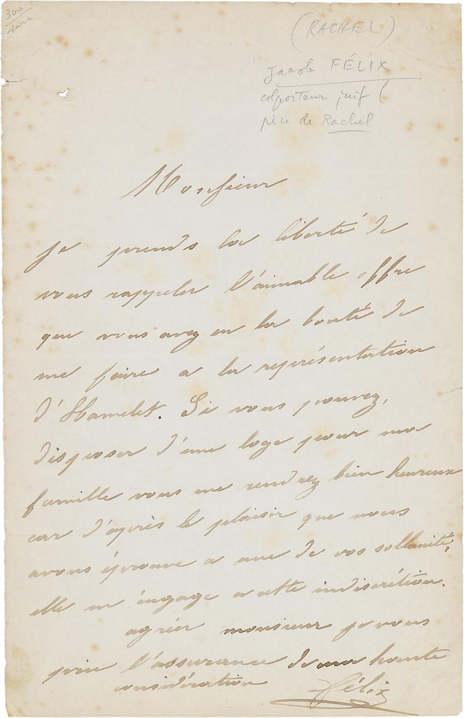 Lettre de Jacob Félix - Patrimoine Charles-André COLONNA WALEWSKI, en ligne directe de Napoléon