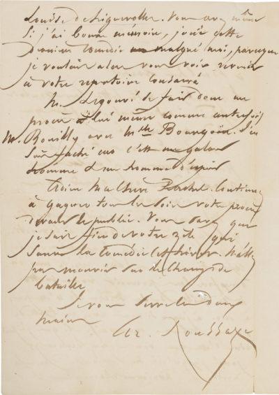 Lettre d'Arsène Houssaye à Rachel - Patrimoine Charles-André COLONNA WALEWSKI, en ligne directe de Napoléon