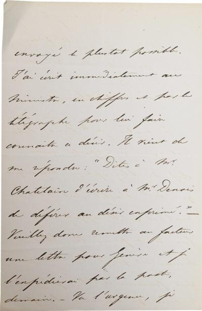 Lettre au Ministère des Affaires Etrangères - Patrimoine Charles-André COLONNA WALEWSKI, en ligne directe de Napoléon
