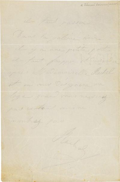 Lettre de Rachel à Crémieux - Patrimoine Charles-André COLONNA WALEWSKI, en ligne directe de Napoléon